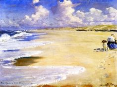 Marie Krøyer Painting on the Beach at Stenbjerg - Peder Severin Kroyer - The Athenaeum