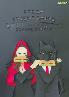 An ad for a Subway promo – giving customers off the second sandwich bought – designed to show how this special offer might foster some quite extraordinary new friendships. Subway Sandwich, Saatchi & Saatchi, New Friendship, Print Magazine, Print Ads, Illustrators, Advertising, Batman, Superhero