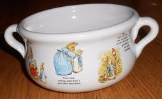 Beatrix Potter PETER RABBIT Teleflora Planter Plant Pot Soup Handled Bowl