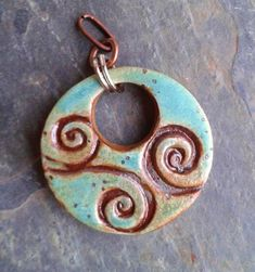 Turquoise Green Swirly Ceramic Pendant by Artgirl56.