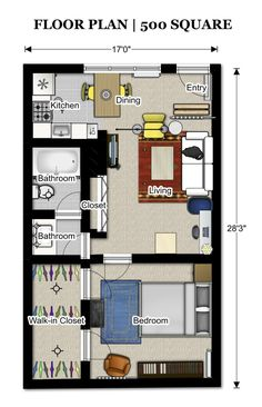 700 Square Feet Apartment this is just under 500 square feet but the layout is really