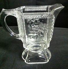 """BEAUTIFUL MCKEE EAPG PRESSED GLASS """"DEER & PINE TREE"""" CREAMER 5 1/2"""" circa 1885"""