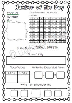 Number of the Day Practice Practice representing numbers using number lines, place value, 100 squares, before and after, expanded form, odd and even and more!! Perfect for use in kindergarten, first and second grade!