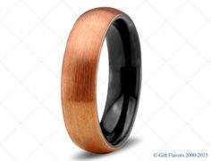 Rose Gold Wedding Band Ring Tungsten Carbide 6mm 18K Tungsten Brushed Ring Man Wedding Band Male Women Custom Black Enemeled Anniversary