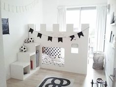 Bildergebnis für bunk beds with desk ikea hack Kids Castle, Castle Bed, Big Girl Rooms, Boy Room, Ikea Kura Hack, Ikea Hacks, Kura Bed Hack, Ikea Bed, Kids Room Design