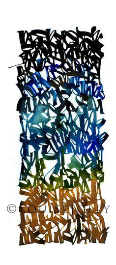 """""""Nightfall"""", detail, 2013 Pour le 1er janvier, Christopher Haanes , un de mes contacts calligraphe sur FB a posté un poème d'Octavi... Gothic Lettering, Hand Lettering, Brush Lettering, Graphic Design Art, Graphic Design Typography, Typography Letters, Typography Logo, Calligraphy Letters, Artist Sketchbook"""
