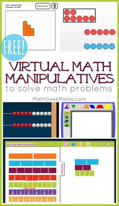 Do you need a virtual tool to help your kids solve math problems? This post includes 25 online math manipulatives to help kids visualize math problems. Maths Guidés, Math Classroom, Teaching Math, Google Classroom, Math Math, Math Resources, Math Activities, Preschool Activities, Math College