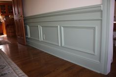 This is similar to the new style of faux wainscoting we are going to do. One piece of double sided trim instead of raised panels.