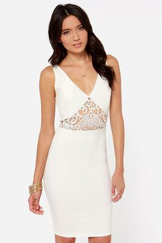 Lady Lovestruck Backless Ivory Lace Dress at LuLus.com! white party?