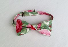 Men's floral bow tie  green and pink bow tie  by KristineBridal, $39.99