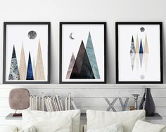 Set of 3 Scandinavian Mountains Mountain by UrbanEpiphanyPrints