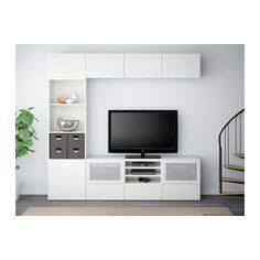 BESTÅ TV-Komb. mit Vitrinentüren - weiß/Selsviken Hochglanz/Frostglas weiß, Schubladenschiene, sanft schließend - IKEA