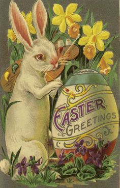 Vintage Easter card with bunny and egg.  For cards, scrapbooking, printing & framing, gift tags, altered art, decoupage, etc