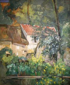 """Paul Cezanne, House of Pere Lacroix, 1873 - To brighten Cezanne's dark palette knife, Pissarro told him, """"Never paint except with three primary colours..."""" The bright hues and quickly worked brushstrokes reveal here the effect of Pissarro's influence."""