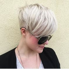 """Everything about this platinum, undercut pixie is fetch (don't worry Gretchen, fetch IS going to happen) @mammamac4 (aka Bev) is amazing. #pixie #undercut…"""