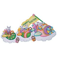 Airplane Bunnies Plastic Canvas Kit - Herrschners #easter