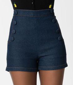 Voodoo Vixen Navy Blue Denim High Waisted May Shorts Pin Up Outfits, Retro Outfits, Short Outfits, Casual Outfits, Cute Outfits, Nautical Outfits, Nautical Fashion, Nautical Clothing, Retro Clothing