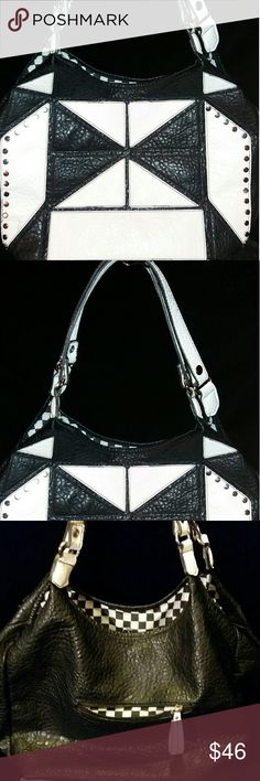 Black Rivet Large Handbag Black and White Handbag Approximately 12L x 17W inches Large and deep EUC No holds/ NoTrades/ No Personal Emails Black Rivet Bags