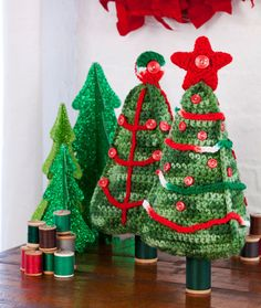 Christmas Tree Duo Free Crochet Pattern from Red Heart Yarns