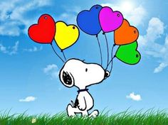 Snoopy and heart balloons