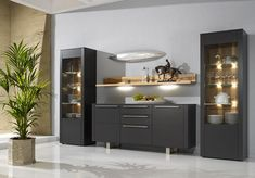 Gwinner Bellano graphite lacquer cabinet composition with sideboard, display cabinets and oak shelves Dining Room Table Decor, Dining Room Walls, Dining Room Design, Dining Room Furniture, Living Room Decor, Crockery Cabinet, Dining Cabinet, China Cabinet, Luxury Dining Room