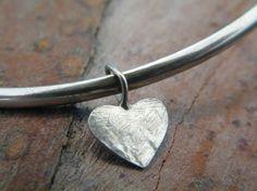 Heart charm bangle handmade sterling silver bangle