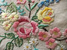 Vintage rose Hand Embroidered Linen Tablecloth