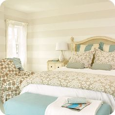 Striped walls and beachy colors. Beach house master bedroom soft blue and neutrals Pretty Bedroom, Dream Bedroom, Home Bedroom, Bedroom Decor, Bedroom Retreat, Bedroom Colors, Shabby Bedroom, Shabby Cottage, Shabby Chic