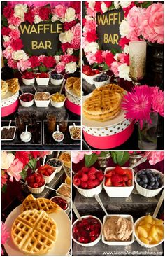 Waffle Bar - buffet ideas including waffle recipes, topping ideas, decorating and more! Delicious ideas for breakfast, brunch or dessert including both sweet and savoury ideas. food ideas buffet diy Waffle Bar Ideas and Recipes - Moms & Munchkins Dessert Party, Brunch Party Decorations, Brunch Decor, Party Desserts, Party Food Bars, Birthday Breakfast, Birthday Brunch, Easter Brunch, Birthday Ideas