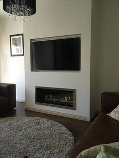 Surrey Hills - Real Flame Landscape 1000 / The Gas Log Fire Company Wall Units With Fireplace, Built In Around Fireplace, Living Room Decor Fireplace, Fireplace Built Ins, Home Fireplace, Living Room With Fireplace, Media Fireplace, Fireplaces, Feature Wall Living Room