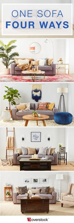 Refresh your space using decor, accent furniture, and area rugs to accessorize around your sofa and easily makeover your living room.