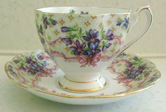 Queen Anne Fine Bone China Teacup and Saucer Sweet Violets Pattern England | eBay