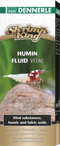 ShrimpKing Humin Fluid Vital - For species-appropriate conditioning of aquarium water for successful shrimp husbandry. Increases the activity of shrimps and promotes balanced growth, health and vibrant colouring. Promotes reproduction, provides the perfect conditions for successful breeding. Ideal for all shrimp species and related breeds such as bee shrimps, bumble bee shrimps, Neocaridina species, tiger shrimps, etc. Contains essential trace elements and vital substances.