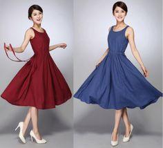 Womens-Vintage-Retro-Sleeveless-Summer-Cotton-linen-Party-Casual-Beach-Dress