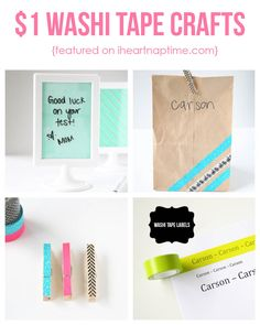 Cute and easy $1 washi tape crafts I Heart Nap Time.