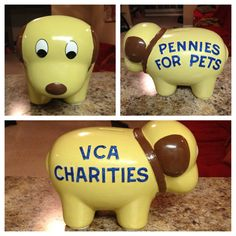 "VCA Charities Money Bank :) ""Pennies for Pets"" is one of the many fundraisers we do to raise money to save pets in need! This one will be displayed at VCA Roswell Animal Hospital."