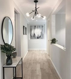 Hallway Inspiration, Home Decor Inspiration, Inspiration Boards, Modern Hallway, Black Hallway, Contemporary Hallway, Contemporary Interior, Entry Hallway, Hallway Lamp
