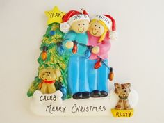 Couple with 2 Pets Personalized Ornament - Couple with 2 Custom Pets Ornament - Couple with 2 Pets Added Cats or Dogs Ornament by OrindasOrnaments on Etsy