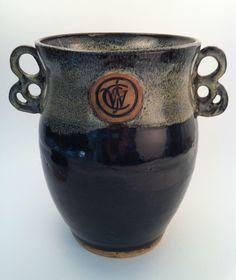 Wine Chiller  Stoneware clay, wheel thrown with carved handles.  (KiteStar Studio - Carolyn Coffey Wallace)