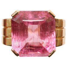 Art Deco Pink Tourmaline Gold Ring | From a unique collection of vintage cocktail rings at https://www.1stdibs.com/jewelry/rings/cocktail-rings/