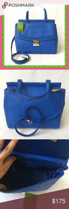 """Authentic Kate Spade Leather Handbag 100% AUTHENTIC. Beautiful leather bag from Kate Spade. Top handle & shoulder bag. Length 11 1/2"""" Height 10"""" Width is almost 6"""" Detachable long strap drop aproximately 16"""" w/ 3 interior pockets. Bottom feet for protection. Yellow gold tone hardware. Color: Island deep (blue) STUNNING. No trade ❌ Price firm. kate spade Bags Satchels"""