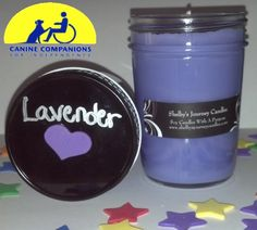 Lavender Organic Soy Candle!  Eco friendly, clean and slow burning. Get 43 hours of burn time out of our 8 oz candles! A portion of the proceeds are donated to help the disabled. For more information about Shelby and her candles visit us at www.shelbysjourneycandles.com or like us on Facebook http://www.facebook.com/pages/Shelbys-Journey-Candles/316453241762830