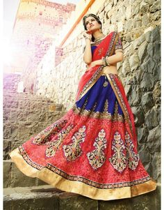 Blue and Pink Net Lehenga Choli With Embroidery Work
