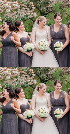 mismatched grey long bridesmaid dresses, cheap tulle wedding party dresses, simple bridesmaid dresses #dressywomen #bridesmaids #wedding