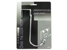 "Deluxe Chrome Over-The-Door Hook - Case of 144 by Bulk Buys. $144.07. The over-the-door-hook easily mounts over doors. Made with durable chrome-plated steel. Comes packaged on a tie card with hanging hole. The hook over the door is 7/8"" wide & hangs of the back of the door 1 3/8"". Total length 6 1/2"". Projects about 2 3/4"" from the door."