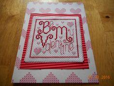 cross stitch valentine Be My Valentine available in etsy shop DebbyWebbysCards