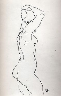 Standing Nude, Facing Right  Egon Schiele (Austrian, Tulln 1890–1918 Vienna)  Date: 1918  Medium: Charcoal on paper  Dimensions: H. 18-1/4, W. 11-3/4 inches (46.4 x 29.6cm.)