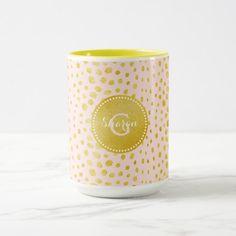 Chic pink faux gold glitter cheetah print monogram mug Pink Leopard Print, Leopard Animal, Gold Glitter, Pattern Design, Print Patterns, Unique Gifts, Christmas Gifts, Monogram, Mugs