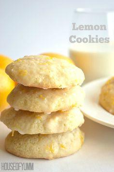 Soft bakery style lemon cookies with a lemon zest glaze