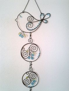 Bird beaded sun catcher